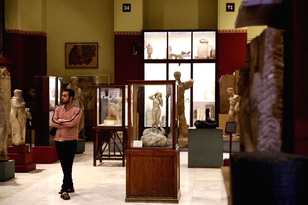 CAIRO, Nov. 15, 2019 - A man visits the Egyptian Museum in Cairo, Egypt, on Nov. 15, 2019. Egypt celebrated on Friday the 117th anniversary of the establishment of the Egyptian Museum located in ...
