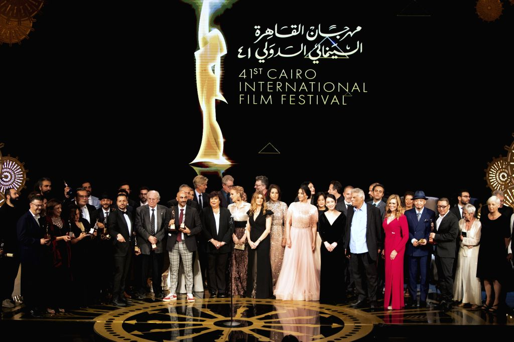CAIRO, Nov. 29, 2019 - Photo taken on Nov. 29, 2019 shows the awarding ceremony of Cairo International Film Festival in Cairo, Egypt. The 41st edition of Egypt's Cairo International Film Festival ...