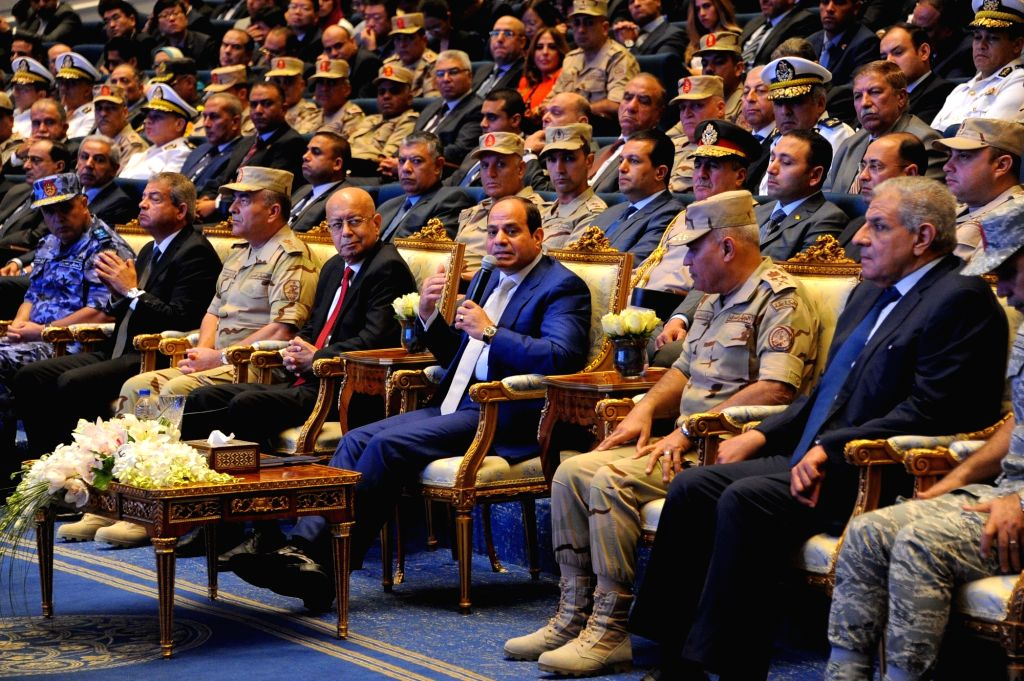 CAIRO, Oct. 11, 2017 - Egyptian President Abdel-Fattah al-Sisi (C, Front) speaks during a deal signing ceremony in Cairo, capital of Egypt, on Oct. 11, 2017. China State Construction Engineering ...