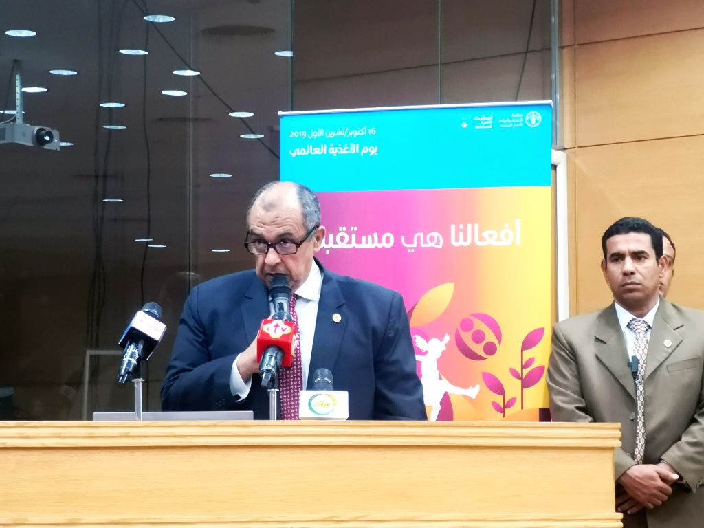 CAIRO, Oct. 16, 2019 - Egyptian Minister of Agriculture and Land Reclamation Ezz El-Din Abu Steit speaks during the World Food Day celebration in Cairo, Egypt, on Oct. 16, 2019. The Food and ...