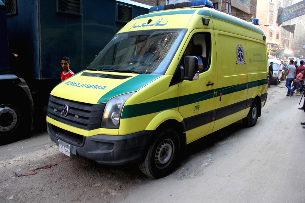 CAIRO, Sept. 10, 2017 - An ambulance is seen at the site of fire exchange with the militants in Giza's Ard al-Liwaa district, Egypt on Sept. 10, 2017. At least 10 terrorists were killed and nine ...