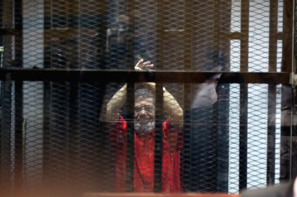 CAIRO, Sept. 16, 2017 - The file picture taken on June 18, 2016 shows Egyptian ousted president Mohamed Morsi in the defendants' cage during his trial in Cairo, Egypt. An Egyptian court on Sept. 16, ...