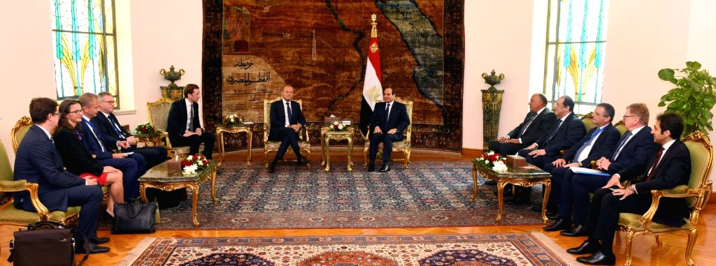 CAIRO, Sept. 16, 2018 - Egyptian President Abdel-Fattah al-Sisi (C-R) meets with European Council President Donald Tusk (C-L) and Austrian Chancellor Sebastian Kurz (5th L) in Cairo, Egypt, on Sept. ...