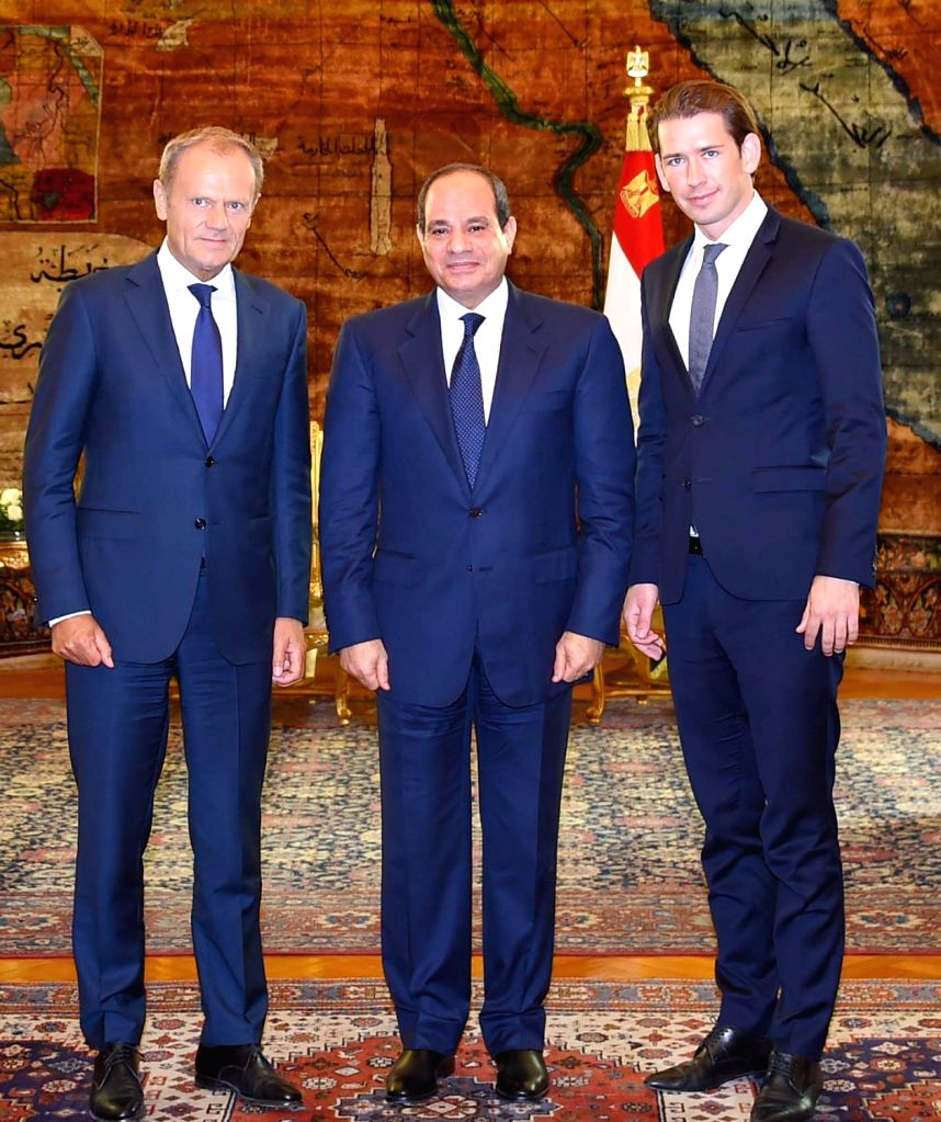 CAIRO, Sept. 16, 2018 - Egyptian President Abdel-Fattah al-Sisi (C) meets with European Council President Donald Tusk (L) and Austrian Chancellor Sebastian Kurz in Cairo, Egypt, on Sept. 16, 2018. ...
