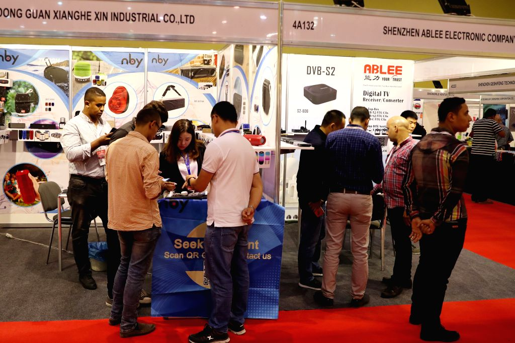 CAIRO, Sept. 28, 2019 - People visit the China Trade Fair in Cairo, Egypt on Sept. 28, 2019. The sixth edition of the China Trade Fair Egypt kicked off on Saturday at two halls of a stylish building ...