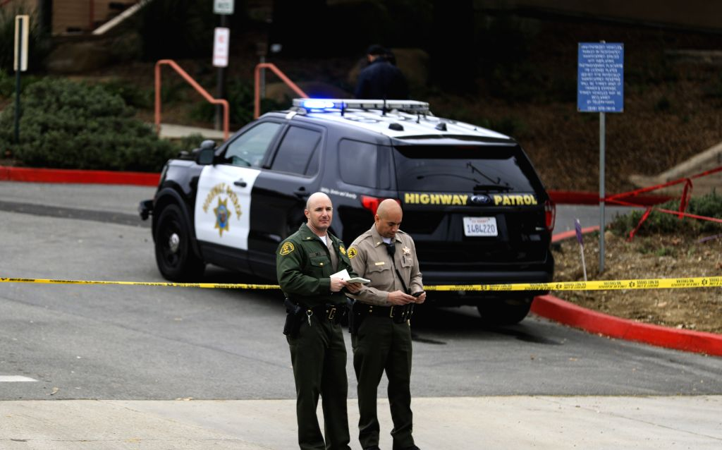 CALABASAS (U.S.), Jan. 26, 2020 Police cordon off an area near the site of a helicopter crash in Calabasas of southern California, the United States, on Jan. 26, 2020. Retired NBA star ...