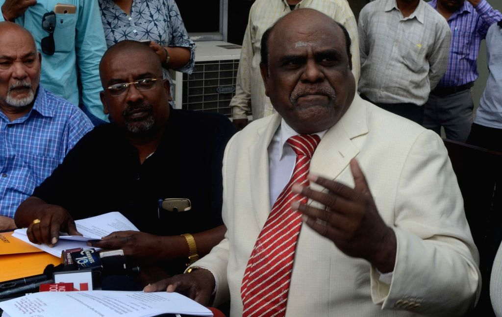 Calcutta High Court judge Justice CS Karnan addresses a press conference in Kolkata on March 10, 2017.