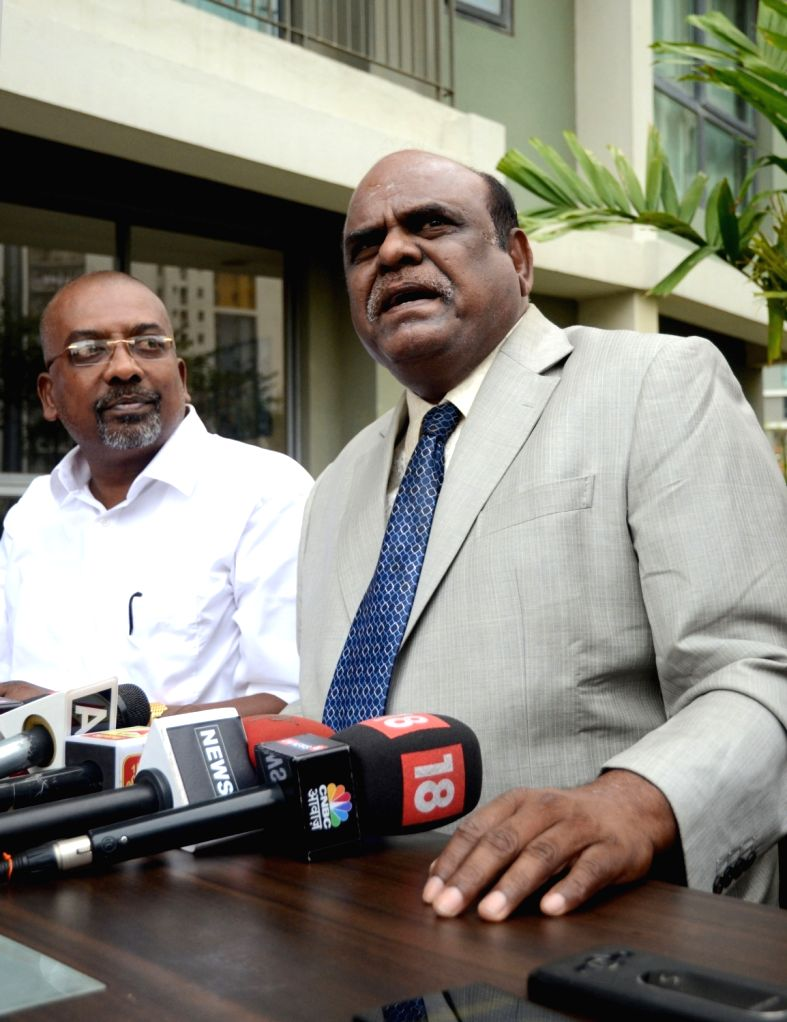 Calcutta High Court judge Justice CS Karnan addresses a press conference in Kolkata on March 11, 2017.
