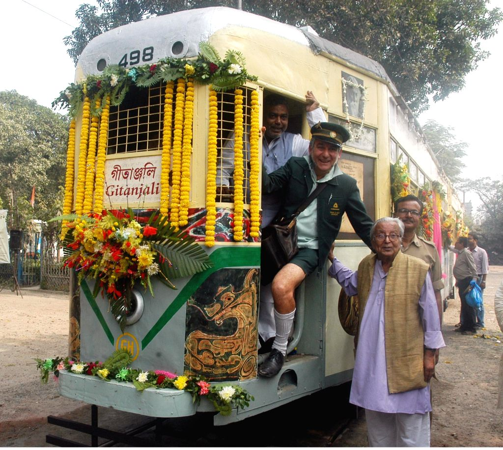 Calcutta Tramways Corporation launches Gitanjali tram a tribute to famous poet Rabindranath Tagore in Kolkata on Dec.11, 2013.