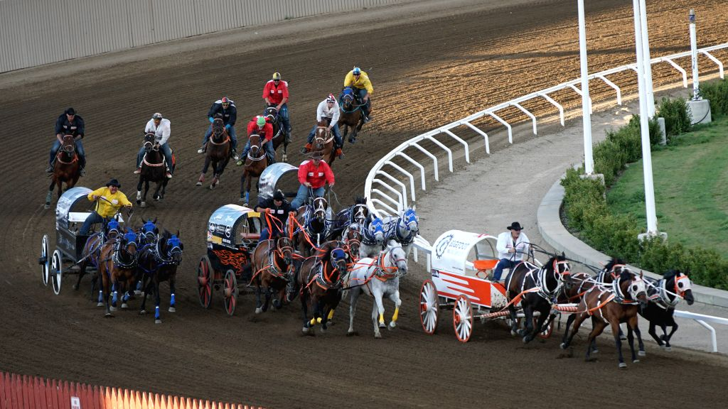 CALGARY, July 17, 2018 - Riders compete during the 50th Calgary Stampede in Calgary, Canada, on July 16, 2018.