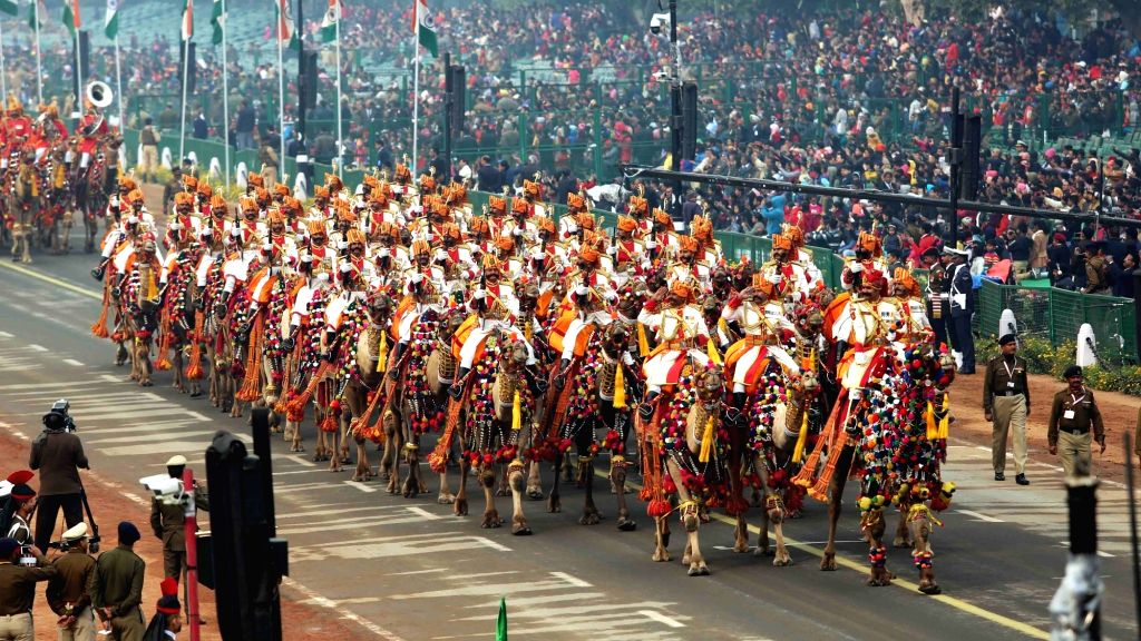 Camel Contingent of Border Security Force passing through Rajpath during the full dress rehearsal for the Republic Day Parade 2018, in New Delhi on Jan 23, 2018.