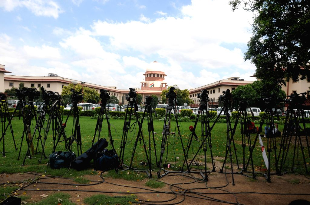 Cameras setup in the lawns of Supreme Court of India in New Delhi on Sept 1, 2014. The government Monday told the Supreme Court that they stood by its verdict holding allocation of coal blocks since .