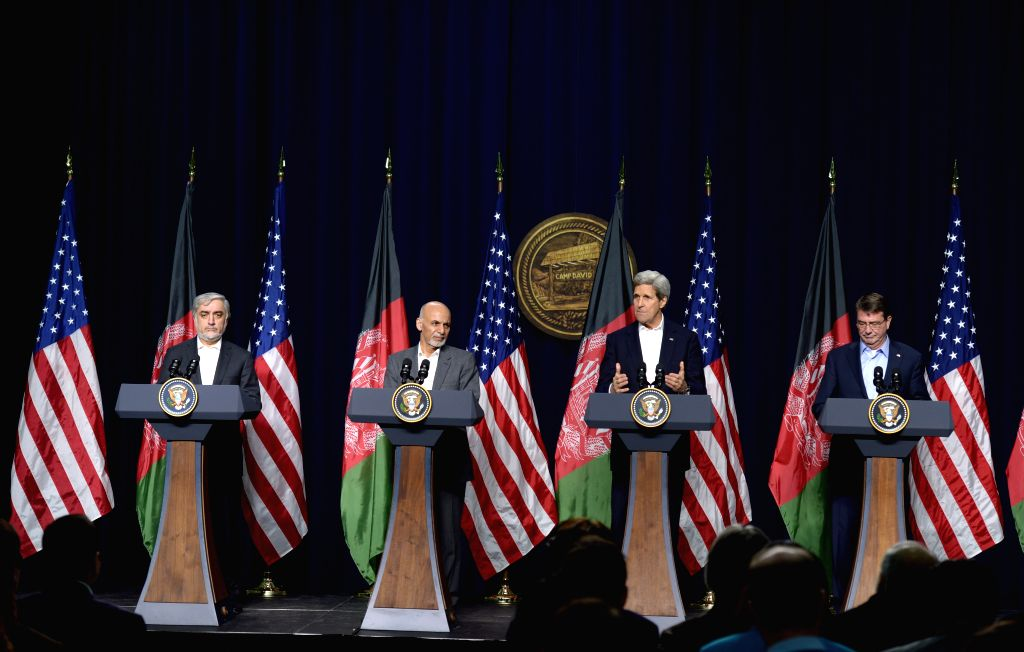 (from R to L)U.S. Defense Secretary Ashton Carter, U.S. Secretary of State John Kerry, Afghan President Ashraf Ghani and Afghan Chief Executive Abdullah ...
