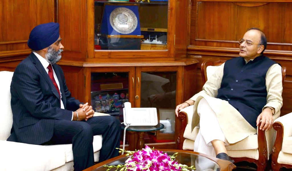 Canada Defence Minister Harjit Singh Sajjan meets Union Minister for Finance, Corporate Affairs and Defence Arun Jaitley, in New Delhi on April 18, 2017. - Harjit Singh Sajjan and Arun Jaitley