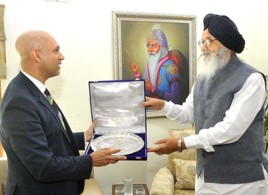 Canadian High Commissioner to India Nadir Patel calls on the Punjab Chief Minister Parkash Singh Badal in Chandigarh on June 24, 2015. - Parkash Singh Badal