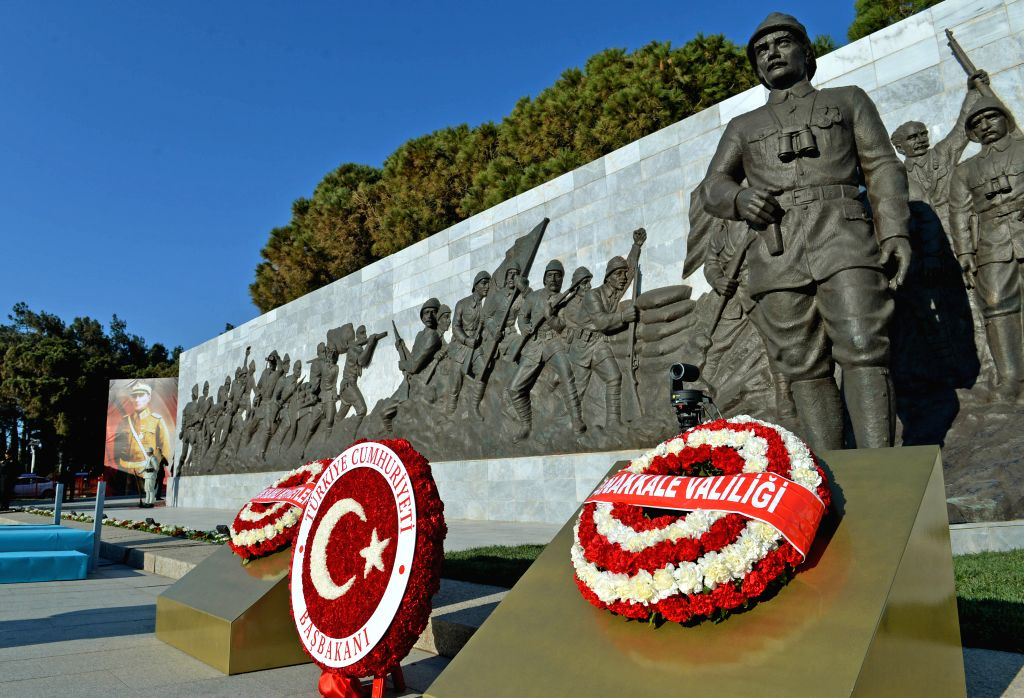 Wreaths are placed in front of the monument after the commemoration ceremony for the 100th anniversary of Gallipoli Campaign in Canakkale March 18, 2015. Turkey ...