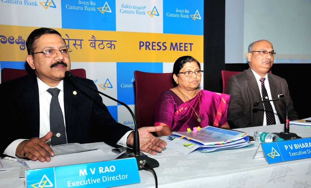Canara Bank Executive Directors M V Rao, P V Bharathi and Debashish Mukherjee announce the financial results for the second quarter, in Bengaluru on Oct 31, 2018. - M V Rao and Debashish Mukherjee