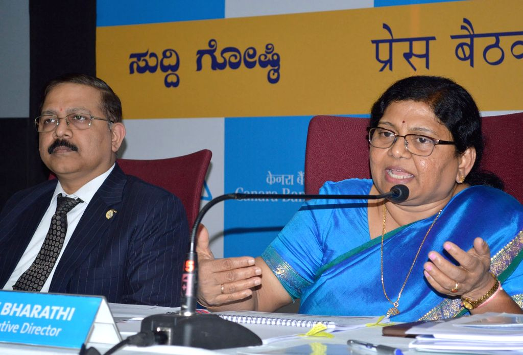 Canara Bank Executive Directors PV Bharathi and MV Rao during a press conference organsied to announce Financial Results for the third quarter, in Bengaluru on Jan 28, 2019.