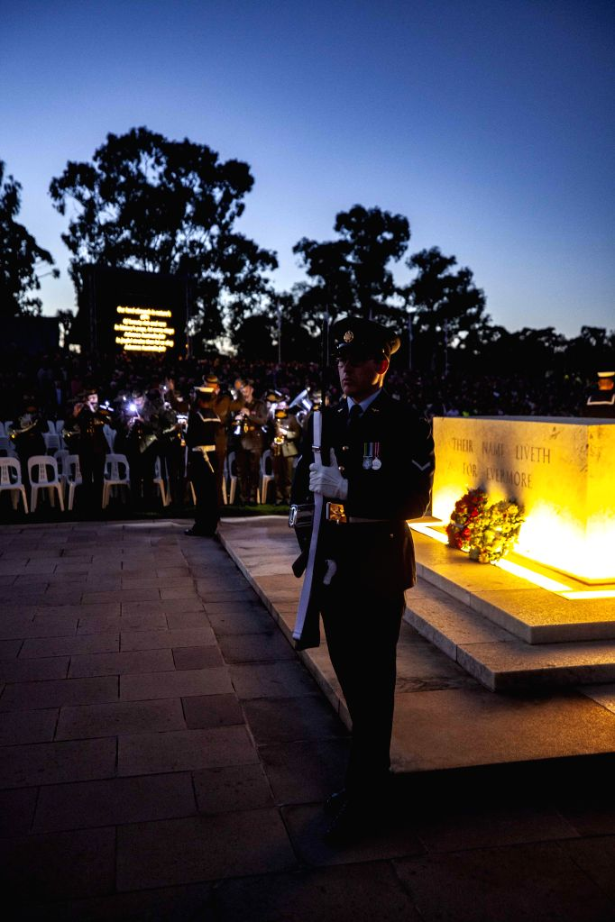 CANBERRA, April 25, 2019 - People take part in a one-minute silence at a dawn service to mark the ANZAC Day at Australian War Memorial in Canberra, Australia, on April 25, 2019. Celebrated on April ...