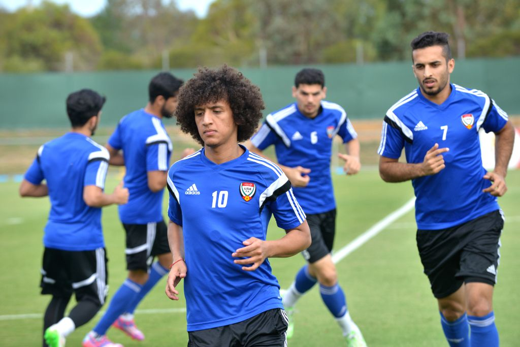 Omar Abdulrahman (front) of the United Arab Emirates (UAE) national team attends a training session ahead of the AFC Asian Cup in Canberra, Australia, Jan. 7, 2015.