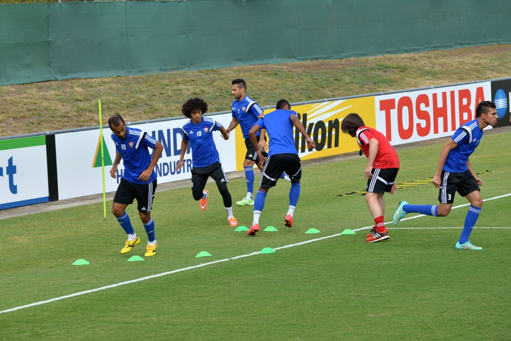 Players of the United Arab Emirates (UAE) national team attend a training session ahead of the AFC Asian Cup in Canberra, Australia, Jan. 7, 2015. The UAE's first ..