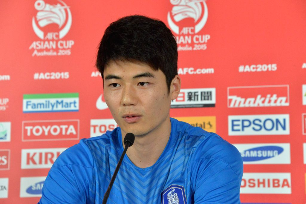 South Korean captain Ki Sung Yueng attends a press conference for AFC Asian Cup at Canberra Stadium in Canberra, Australia, Jan. 9, 2015. South Korea will first ...