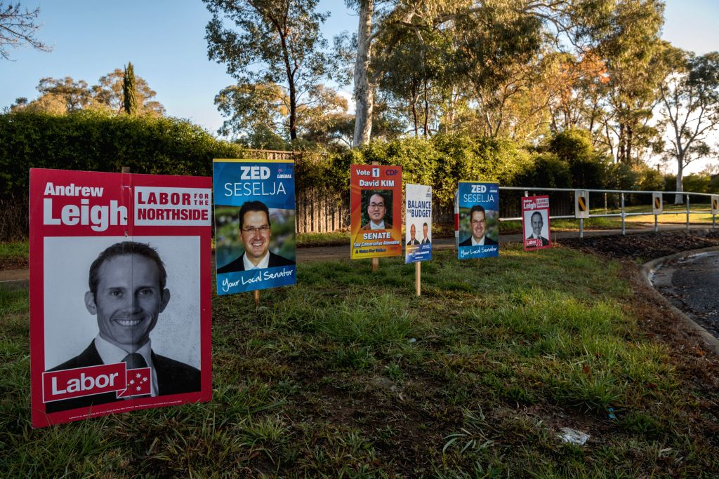 CANBERRA, July 1, 2016 - Photo taken on July 1, 2016 shows campaign posters of candidates in Canberra, Australia. Australians will head to the polls on July 2, 2016 for the federal election. All the ...