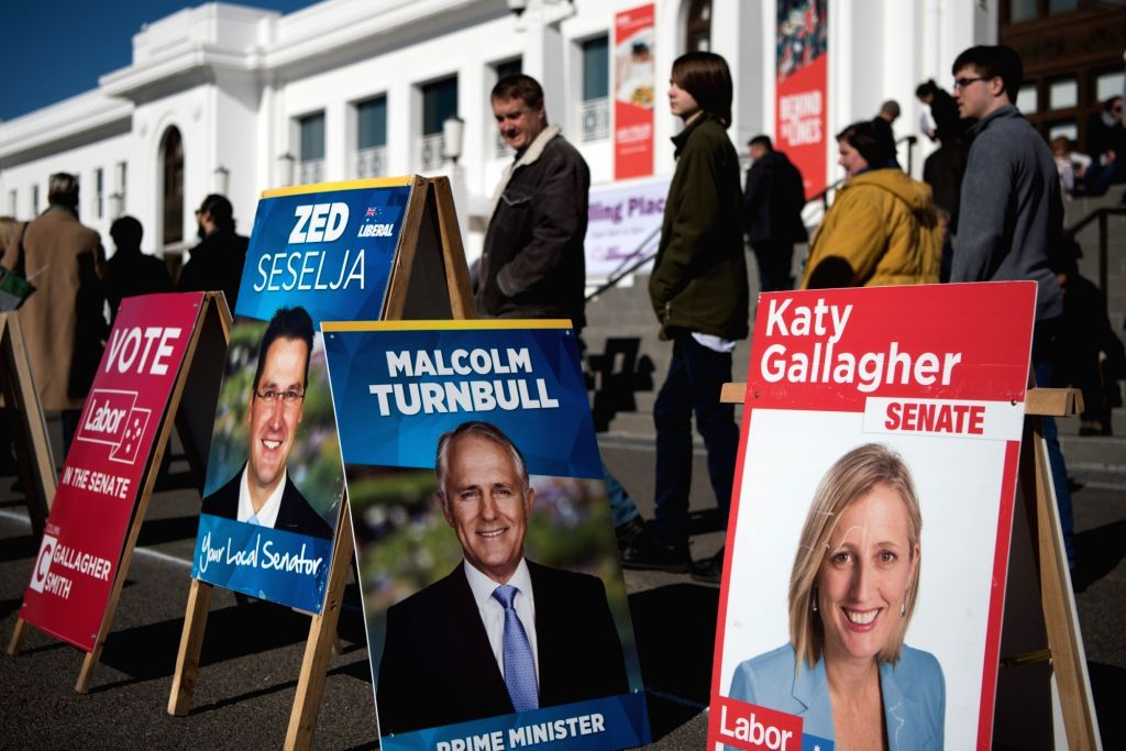 CANBERRA, July 2, 2016 - Photo taken on July 2, 2016 shows party posters are set up at the entrance of Old Parliament House, where one of the polling stations in Canberra, Australia. All the 150 ...