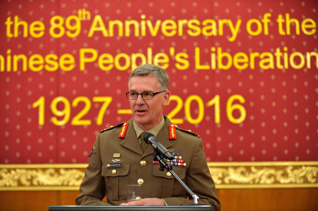 CANBERRA, July 29, 2016 - Major General Rick Burr, Deputy Chief of Army of Australian Defense Forces, gives a speech at the reception to mark the 89th Anniversary of the Founding of the People's ...