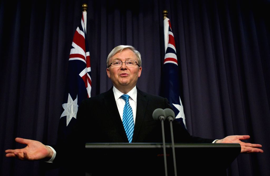 : CANBERRA, June 28, 2013 (Xinhua/IANS)Australian new Prime Minister Kevin Rudd speaks during the first press conference since reassuming the leadership of the Australian Labor Party and ...