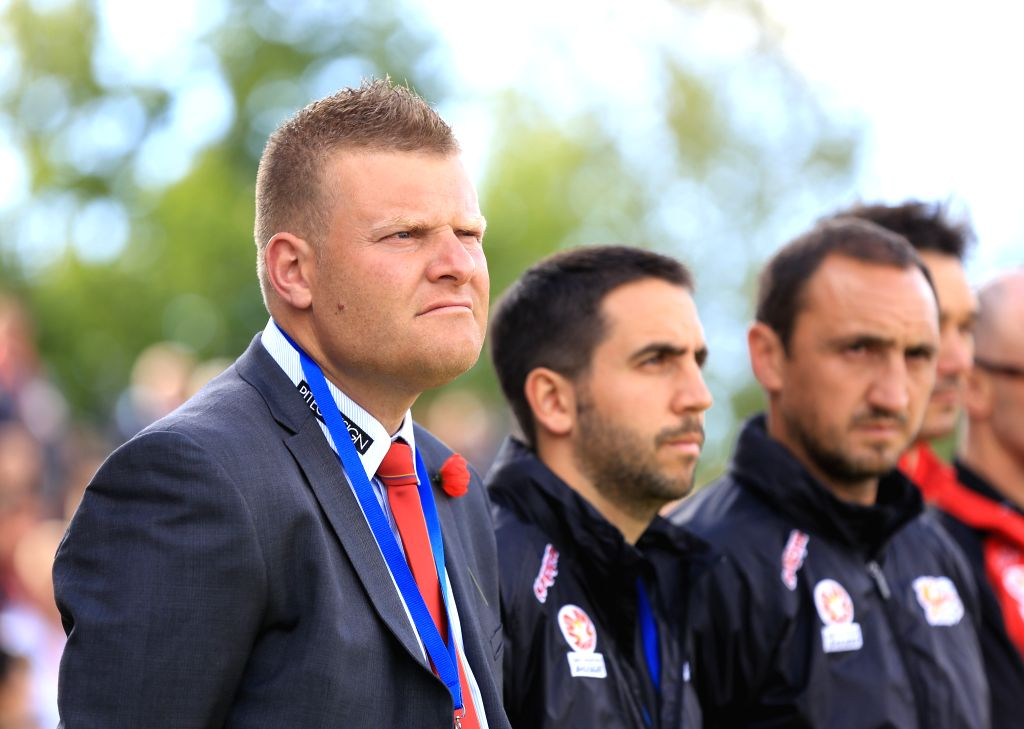CANBERRA, June 28, 2016 - File photo taken on November 10, 2013 shows Josep Gombau (R), the head coach of Adelaide United during an A-League match between Adelaide United and Newcastle Jets in ...