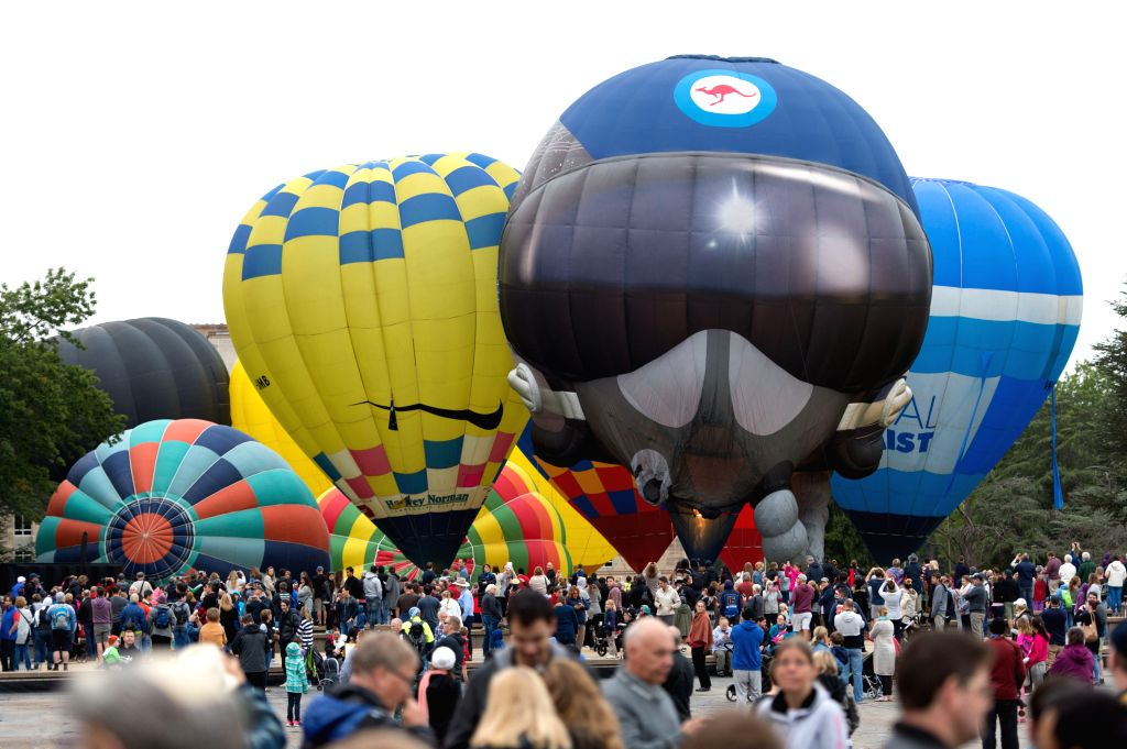 """CANBERRA, March 12, 2017 - Hot air balloons are ready to take off during """"Balloon Spectacular"""" in Canberra, Australia, March 12, 2017."""