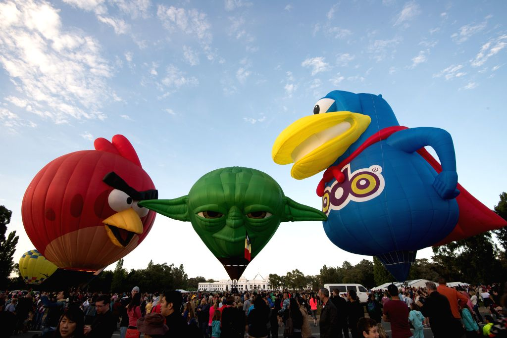 Hot air balloons fly during the Canberra Hot Air Balloon Festival in Canberra, Australia, March 8, 2015.