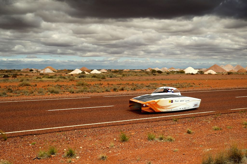 CANBERRA, Oct. 11, 2017 - Solar car Nuna9 of the Netherlands reaches Coober Pedy, a South Australian town known as the Opal Capital, during the fourth day match of 2017 World Solar Challenge in ...