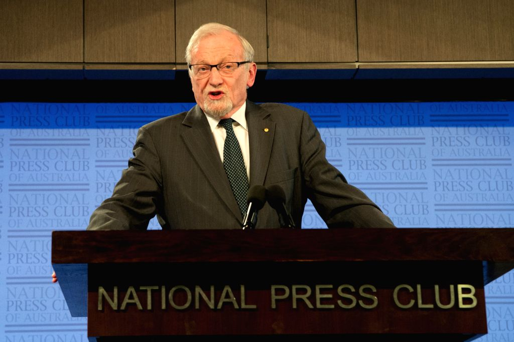 """CANBERRA, Oct. 4, 2017 - Former Australia Foreign Minister Gareth Evans gives a speech while launching his new book """"Incorrigible Optimist"""" at the National Press Club in Canberra, ... - Gareth Evans"""