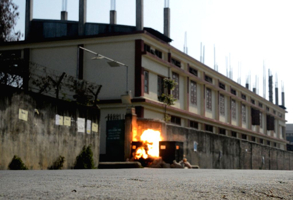Canchipur: An IED that was found outside a school in Canchipur of Manipur being diffused on Feb 14, 2019. (Photo: IANS)
