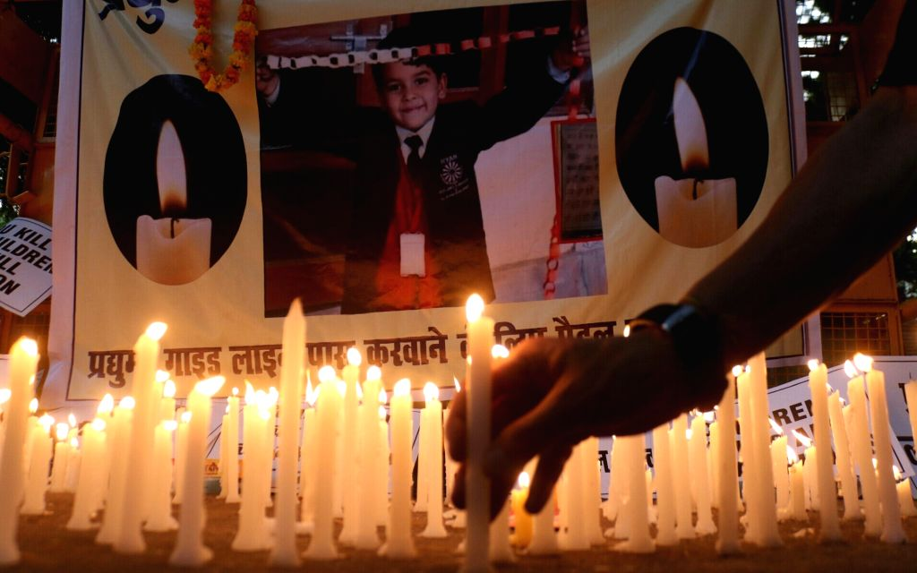 Candle light vigil organised by Mithila Student Union (MSU) over the killing of a Ryan International School student at Jantar Mantar in New Delhi on Sept 17, 2017. Pradhuman, a Class 2 ...
