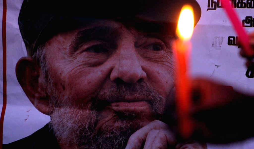 Candlelight vigil to pay tribute to Fidel Castro who died aged 90 on November 26; in Chennai on Nov 28, 2016.