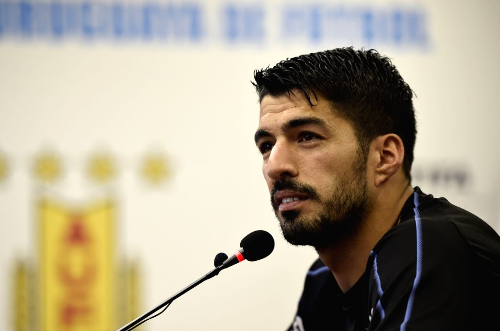 CANELONES, May 29, 2018 - Luis Suarez of Uruguay's national soccer team reacts during a press conference after a training session in Canelones, Uruguay, on May 28, 2018. Uruguay's national soccer ...