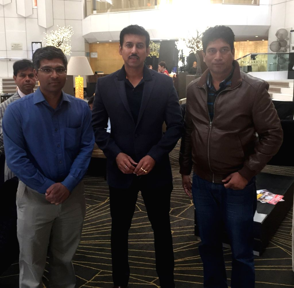 Cannes (France): Union Minister of State for Information and Broadcasting Col. Rajyavardhan Singh Rathore with World News Network CEO Satish Reddy at 69th Cannes Film Festival, in France on May 17, ... - Rajyavardhan Singh Rathore and Satish Reddy