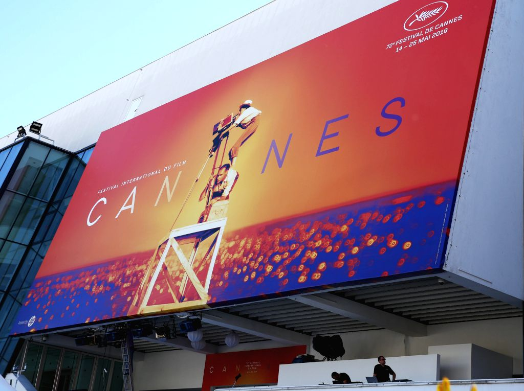 CANNES, May 13, 2019 - Workers make preparations for the 72nd edition of Cannes Film Festival in Cannes, France, on May 13, 2019. The 72nd edition of Cannes Film Festival will kick off on May 14.