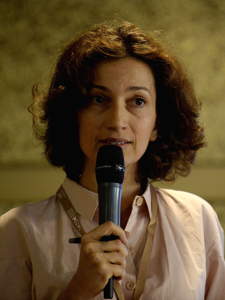 Audrey Azoulay, vice director of CNC (The National Center of Cinematography and the Moving Image of France) addresses a China-France movie business forum at the ...