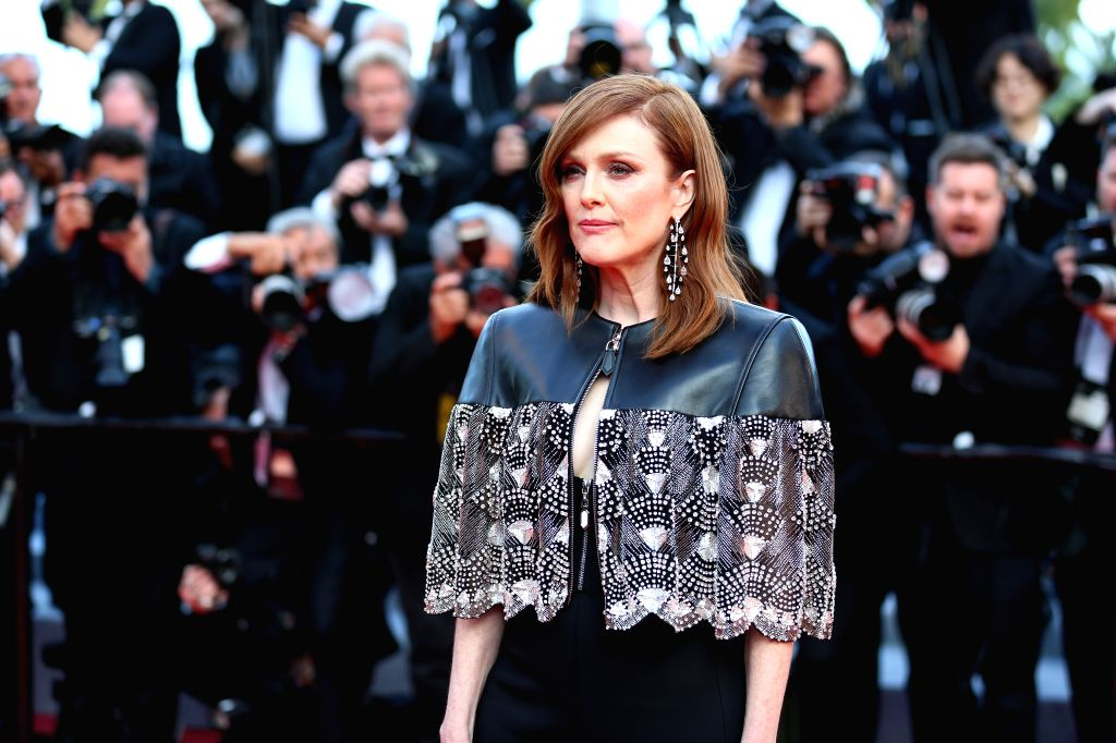 """CANNES, May 16, 2019 - Actress Julianne Moore poses on the red carpet for the premiere of the film """"Les Miserables"""" at the 72nd Cannes Film Festival in Cannes, France, on May 15, 2019. The ... - Julianne Moore"""