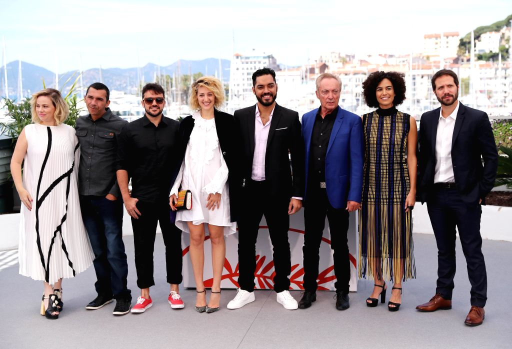 "CANNES, May 16, 2019 - Cast members of ""Bacurau"" pose during a photocall at the 72nd Cannes Film Festival in Cannes, France, May 16, 2019. ""Bacurau"" will compete for the Palme ..."