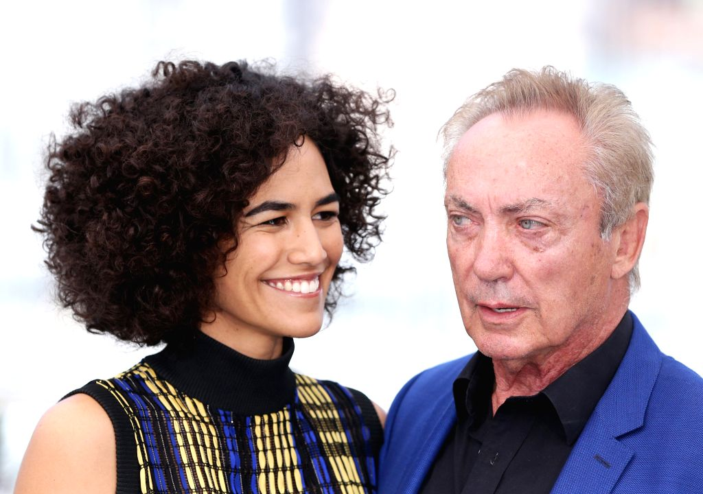 "CANNES, May 16, 2019 - Cast members Udo Kier (R) and Barbara Colen pose during a photocall for the film ""Bacurau"" at the 72nd Cannes Film Festival in Cannes, France, May 16, 2019. ..."
