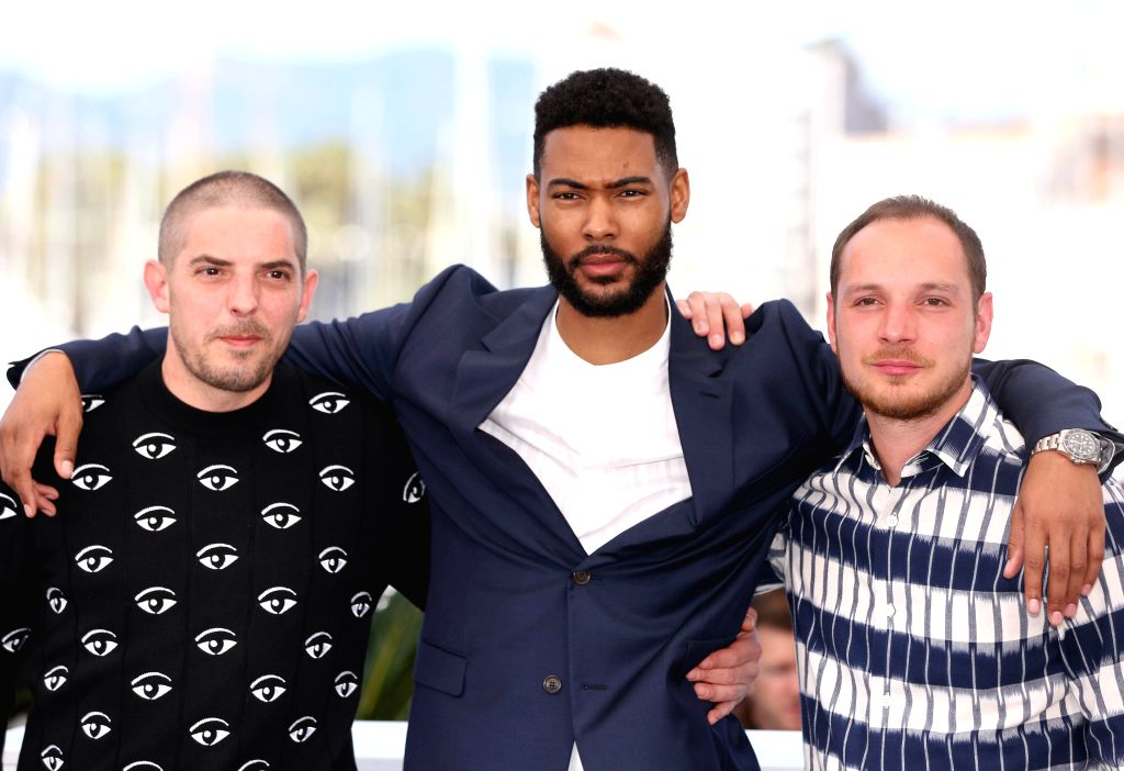 """CANNES, May 16, 2019 - (L-R) Damien Bonnard, Djebril Zonga and Alexis Manenti pose during a photocall for the film """"Les Miserables"""" at the 72nd Cannes Film Festival in Cannes, France, May ... - Ladj L"""