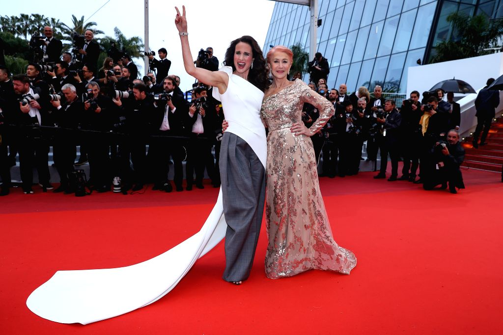 "CANNES, May 19, 2019 - British actress Helen Mirren (R) and U.S. actress Andie MacDowell pose on the red carpet for the premiere of the film ""The Best Years of a Life (Les Plus Belles Annees ... - Helen Mirren"