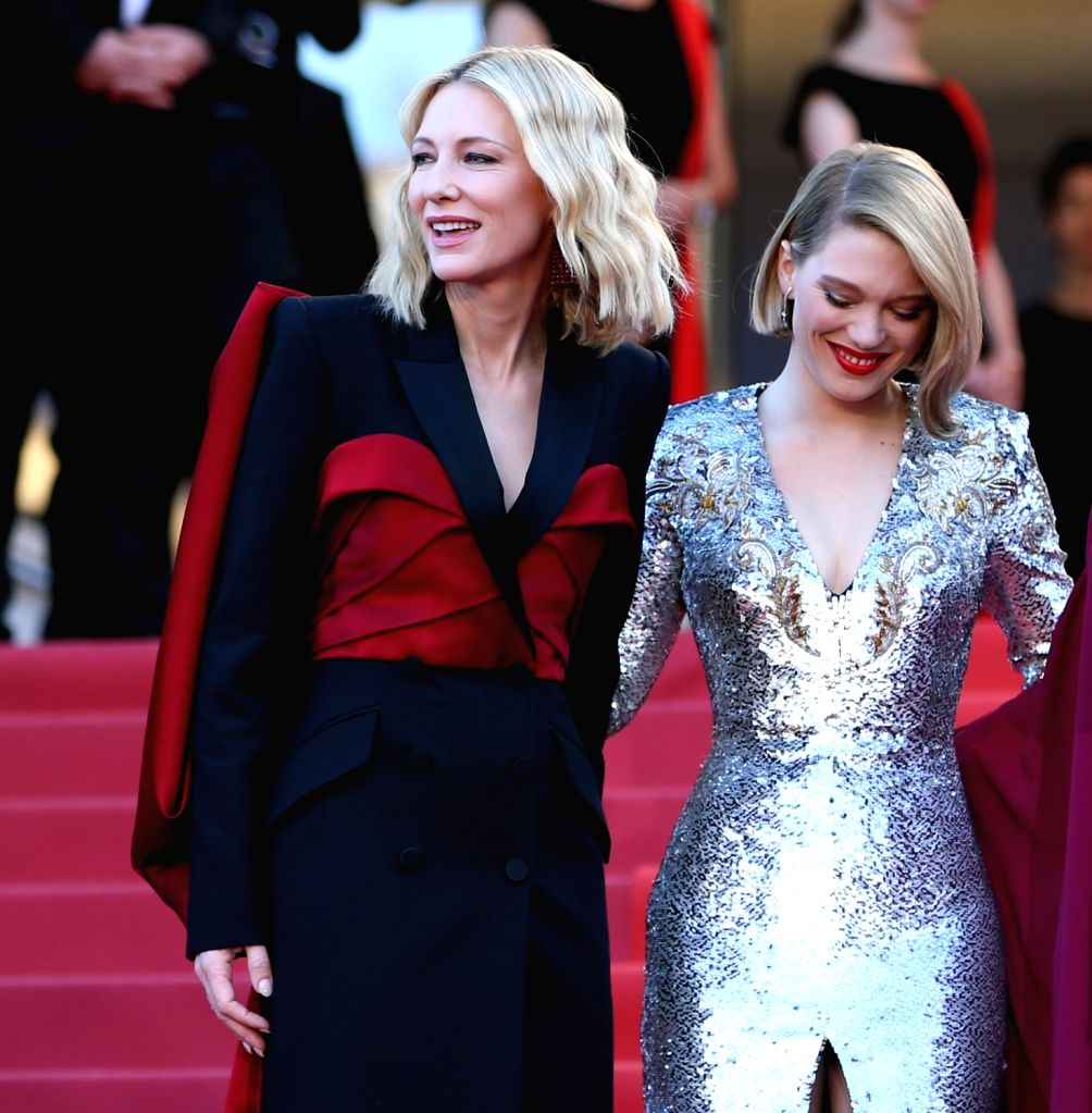 "CANNES, May 20, 2018 - Jury president Cate Blanchett (L) and jury member Lea Seydoux take part in the screening of ""The Man Who Killed Don Quixote"" and the Closing Ceremony during the 71st ..."