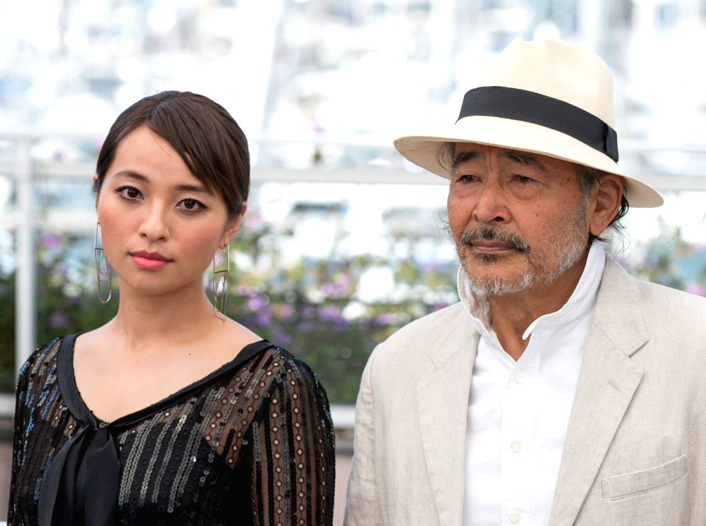 """CANNES, May 23, 2017 - Actress Ayame Misaki (L) and actor Tatsuya Fuji pose for a photocall of the film """"Hikari (Radiance) """" during the 70th Cannes Film Festival at Palais des Festivals in ... - Ayame Misaki"""