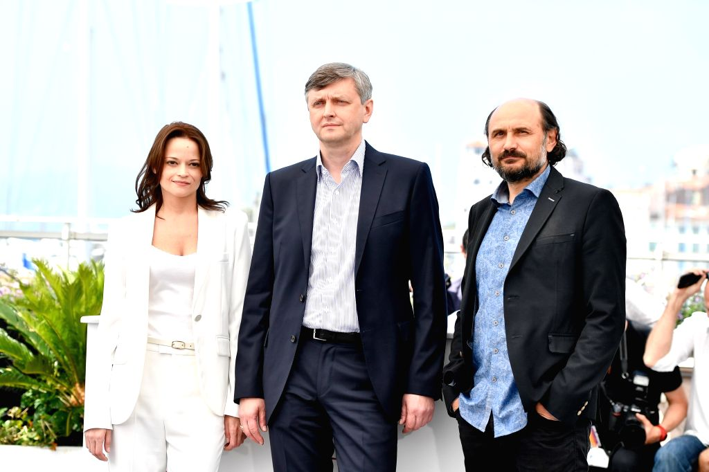 "CANNES, May 25, 2017 - Actress Vasilina Makovtseva, director Sergei Loznista and actor Valeriu Andriuta (from L to R) of the film ""A Gentle Creature"" pose for a photocall in Cannes, France ... - Vasilina Makovtseva"